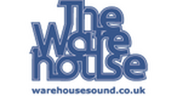 Logo for The Warehouse, blue text with dark blue background