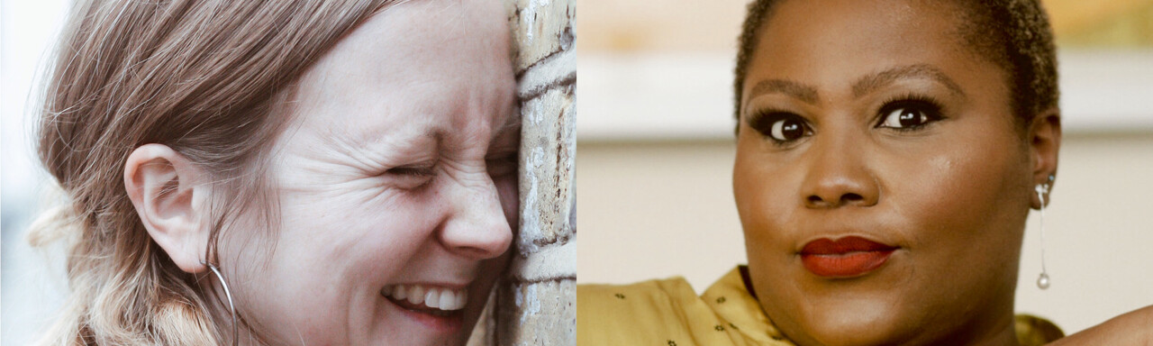 Headshots of Hollie McNish and Wana Udobang