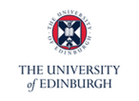 Uni of Edinburgh Logo, blue text with red, white and blue crest